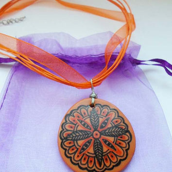 Mandala Zentangle Hand Painted Pendant, Floral Orange necklace, Mandala Drawing Pendant, Hippie Yoga OOAK Boho necklace Polymer Clay pendant