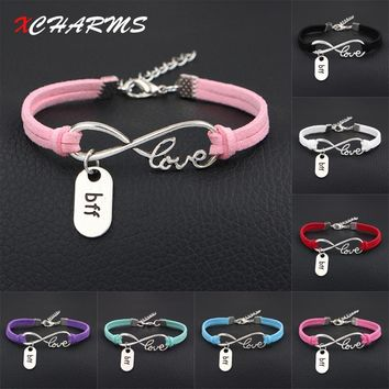 XCHARMS 2018 New Arrival bff Best Friends Forever Charms Bracelet Antique Silver Infinity Love Leather Bracelets For Women