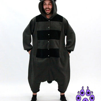 Pawstar Raccoon Tanuki kigurumi Kigu Tan or Gray and Black cosplay Halloween rave anime 6321