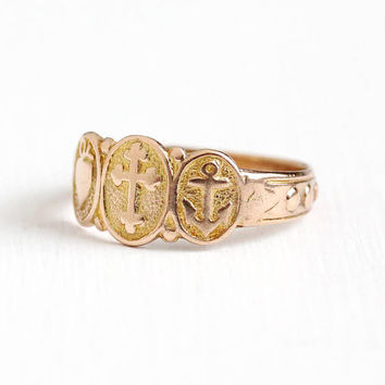 Antique 9k Rose Gold Faith Hope Charity English Ring Band - Vintage Size 6 3/4 Edwardian Hallmarked Birmingham England 1915 Fine Jewelry