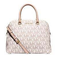 Michael Kors Cindy Large Saffiano Leather Satchel signature VANILLA