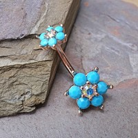 Turquoise Flower Rose Gold Belly Button Ring