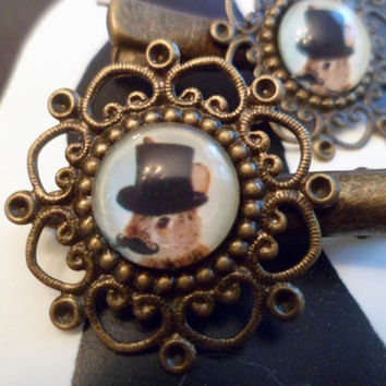 Steampunk rabbitt bronze hair clips
