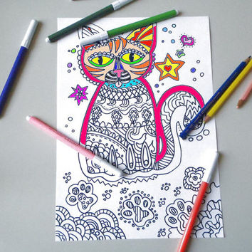 Cat Adult Coloring Page Instant Download From LaSoffittaDiSte On