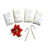 Winter Sachets 4 Sweetest Poinsettia Scented Sachets - Christmas Home Fragrance - Candy Cane - Red White Green - DIY Christmas Favors Set