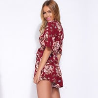 Women's Fashion V-neck Sexy Print Short Sleeve Shorts Romper [6046236801]