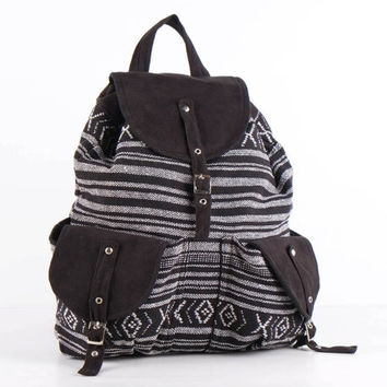 Black and white Southwestern Knapsack Tribal Striped Backpack Hipster School Pack