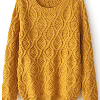 ROMWE | Chunky Diamond Knitted Ginger Jumper, The Latest Street Fashion
