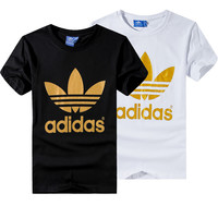 """""""Adidas"""" Unisex Fashion Casual Classic Gold Clover Letter Print Short Sleeve T-shirt Couple Shirt Top Tee"""