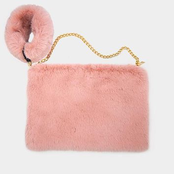 Faux Fur Round Key Chain Crossbody Bag (Click For More Colors)