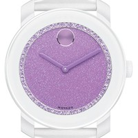 Women's Movado 'Bold' Glitter Dial Leather Strap Watch, 42mm