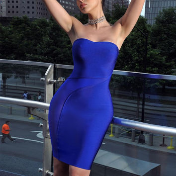 Sheer Cutout Detail Blue Strapless Bandage Dress