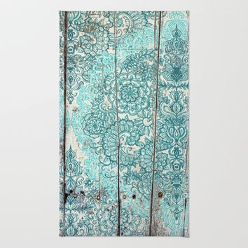 Teal & Aqua Botanical Doodle on Weathered Wood Area & Throw Rug by micklyn | Society6