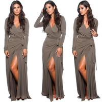 Wrap Deep V-Neck Ruched  Slit Maxi Dress