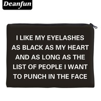 Deanfun 3D Printed Storage Makeup Travelling Women Letter Black Fashion Cosmetic Bags 85002