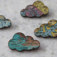 PRE ORDER - Cloud Brooch - Vintage Maps - Puffy Rain Clouds - Spring Travel - Pastel Blue, Pink, Green, Yellow