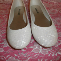 White Glitter Bridal Shoes - Wedding Flats