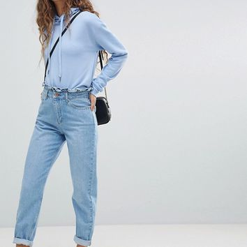 Miss Selfridge Frill Top Mom Jeans at asos.com