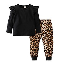 Cool Baby Girls Clothing Set Cotton Long Sleeve Black Tops+Leopard Pants Casual Toddler 2Pcs born Baby Girls Clothes