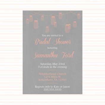 Mason Jar Printable Custom Bridal Shower Invitation Coral and Gray. Fancy Custom wedding invitation. Coral and gray invitation formal party