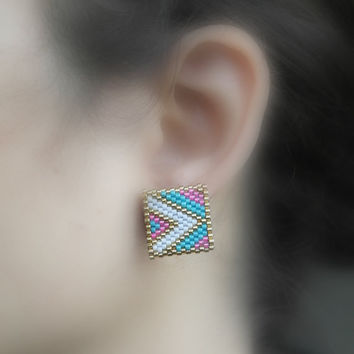 Square Pink White Earrings, Colorful, Square Earrings, Stud Earrings, Modern Abstract Earrings, Christmas Gift, Unique, Vintage, Geometry