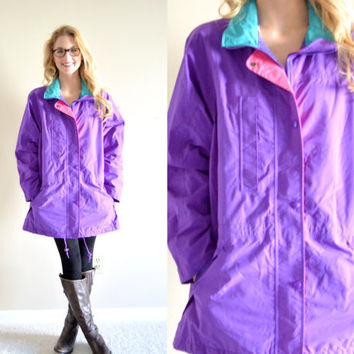 Vintage Eddie Bauer Pastel Purple Gore-Tex Jacket Teal Pink Nylon Windbreaker Womens Medium M Parka Outerwear Colorful Long Rain Jacket