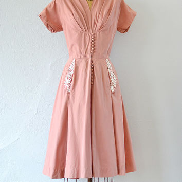 vintage 1950s pink cotton dress with beaded pockets [Sweetest Sentiments Dress] - $188.00 : ADORED | VINTAGE, Vintage Clothing Online Store