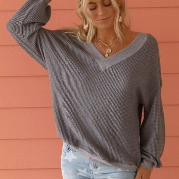 Before Us Charcoal Gray Waffle Knit Top