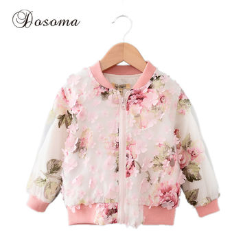 Jackets For Girls 2016 New Fashion Fall Winter Kids Baby Girl Dimensional Flower Organza Zipper Long Sleeve Outwear Coat Clothes