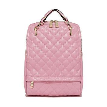 Quilted Genuine Leather Backpack