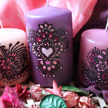 Set of 3 Henna candles / Hand painted candles / Purple - Pink candles with Floral Henna design