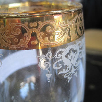 Mid-Century Stemmed Etched Wine Glass with Thick Gold Rim by Cellini Crystal Set of 2