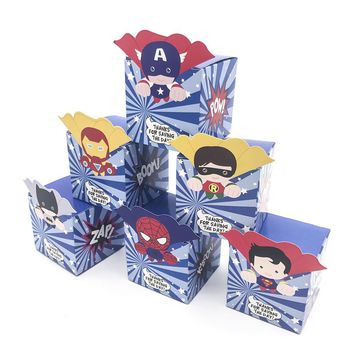 12pcs Small Super Hero Avengers Superman Batman Candy Box Popcorn Box Favor Box Birthday Party Decorations kids Party supplies