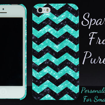 iPhone 5c Case iPhone 5s Case - Small Chevron Glitter Sparkly Wintermint/Black - Bling iPhone 4 Case iPhone 4s Case - Slim iPhone 5 Case