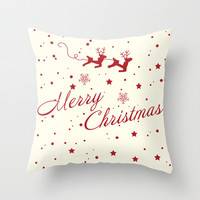 Merry Christmas.  Throw Pillow by Irmak Berktas