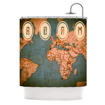"Ann Barnes ""Roam II"" World Map Shower Curtain"