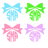 Monogrammed Bow Decal