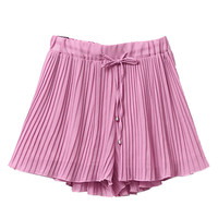 Pink Tie Waist Pleated Chiffon Shorts