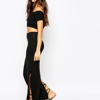 Vila Jersey Maxi Skirt With Side Split