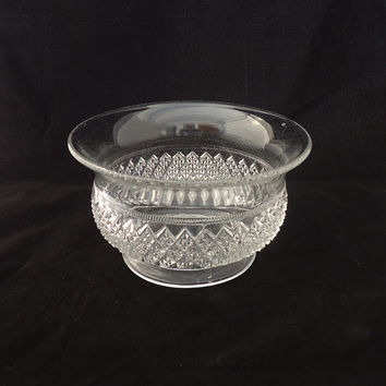 Vintage Footed Clear Glass Bowl, Clear Glass Bowl Diamond Pattern, 1950s, Fruit Clear Glass Bowl