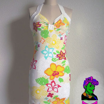 Hawaiian Honeycomb Pin Up Halter Dress - Custom Size - Rockabilly, Psychobilly, Punk, Goth - Poofhawk