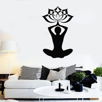Wall Stickers Vinyl Decal Yoga Lotos Buddha Buddhism Fitness Meditation Unique Gift (z1769)