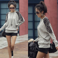 FASHION WOMENS LONG SLEEVE ROUND NECK BATWING LEOPARD JUMPER LOOSE TOP 1507