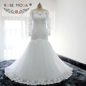 Rose Moda Boat Neck Long Sleeves Lace Mermaid Wedding Dress with Pearls Ivory White Africa Wedding Gown Real Photos