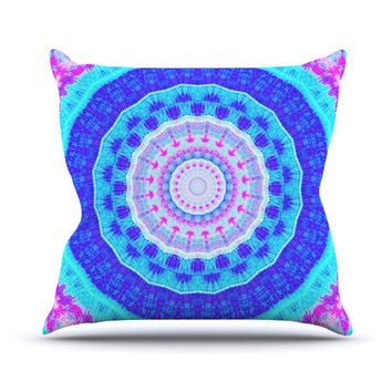 "Iris Lehnhardt ""Summer Colors"" Pink Blue Outdoor Throw Pillow"