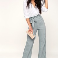 Vacay All Day Slate Blue Wide-Leg Pants