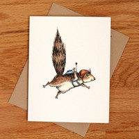 Skydiver Squirrel, individual card.