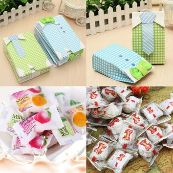 50pcs Baby Shower Blue Green Bow Tie Birthday Favor Candy Paper Box Treat Bag