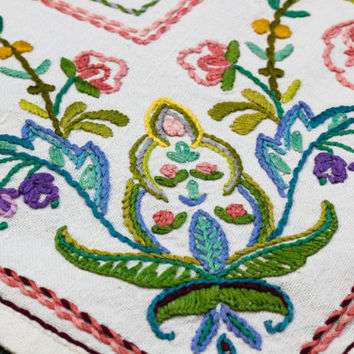 Linen Tablecloth, Embroidered Tablecloth, Floral Crewel Embroidery, Multi Colored Raised Embroidery, Shabby or Cottage Chic Decor, Vintage