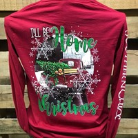 Southern Chics I'll Be Home for Christmas Truck Dog Girlie Long Sleeve Bright T Shirt